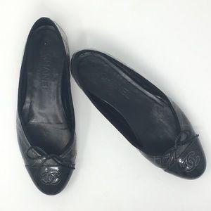 Chanel Metallic Patent Cap Toe Ballet Flats 37.5
